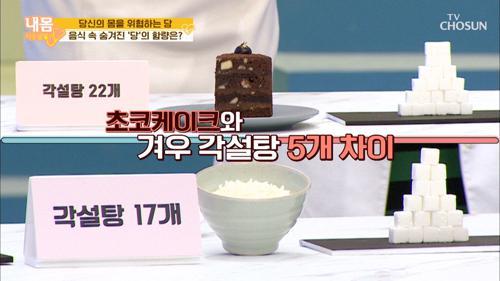 초코 케이크 '당' 함량 ⌜각설탕 22개⌟ 완전충격