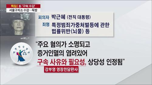 박 前 대통령, 파면 21일 만에 구속…서울구치소 수감