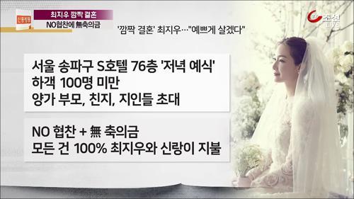 '극비 깜짝 결혼' 최지우, 초호화 결혼식장 공개