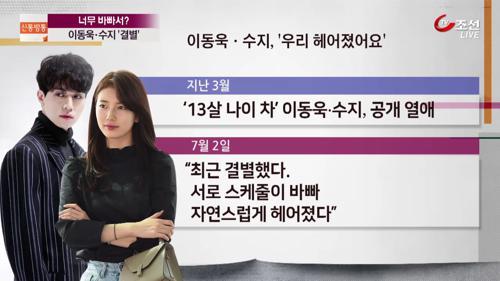 너무 바빠서?…이동욱·수지, 4개월 만에 '결별'