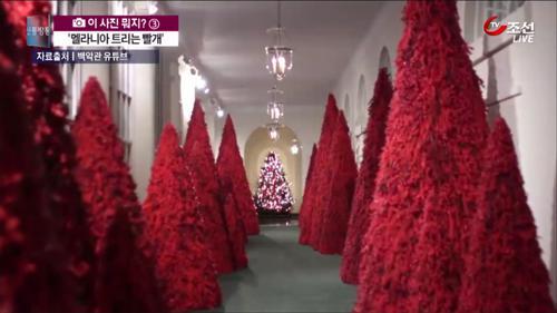 멜라니아의 독특한 취향?...백악관 빨간 트리 화제