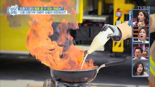 소화기 대신 불을 끌 수 있는 배추와 마요네즈!
